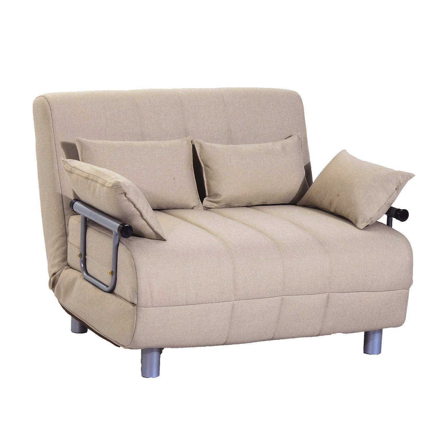 HOMCOM 3-in-1 Convertible Chair Sofa Bed Lounger Folding Bed with Adjustable Backrest and 4 Pillows Beige