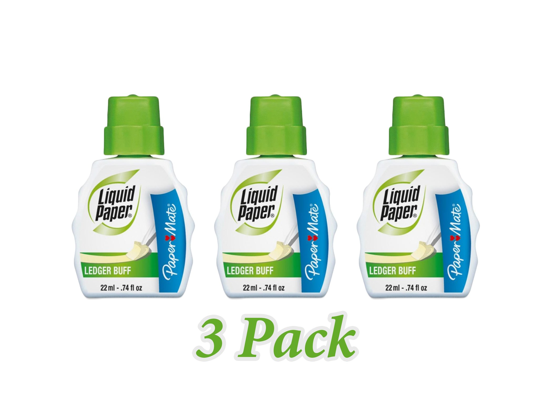 Paper Mate Correction Fluid, 22ml, Ledger Buff (PAP5660115) (3-Pack) by Paper Mate (Image #1)