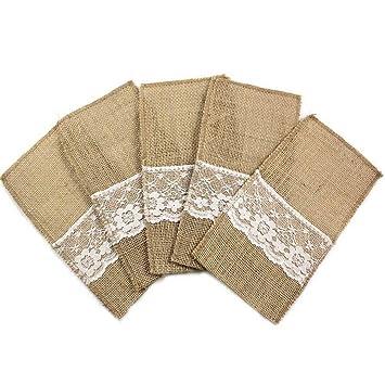 """10 piezas vintage 4""""x8"""" arpillera encaje boda vajilla vajilla cubertería soporte decoraciones Favor"""