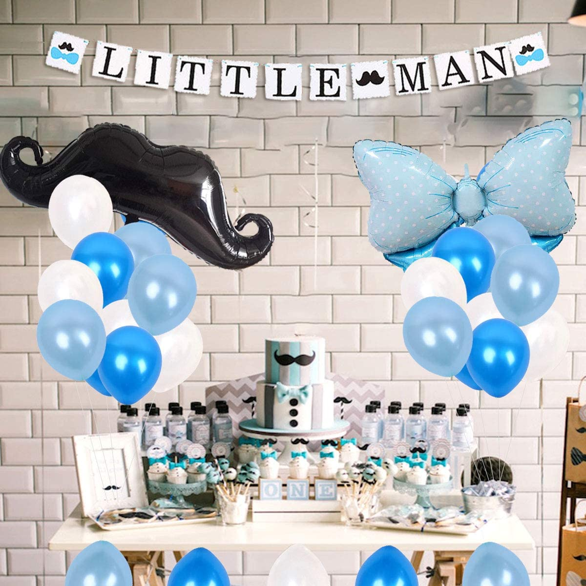 JOYMEMO Little Man Baby Shower Decorations Mustache Party Supplies Little  Man Banner and Mustache Hat Bow Ties Cake Topper for Birthday Party