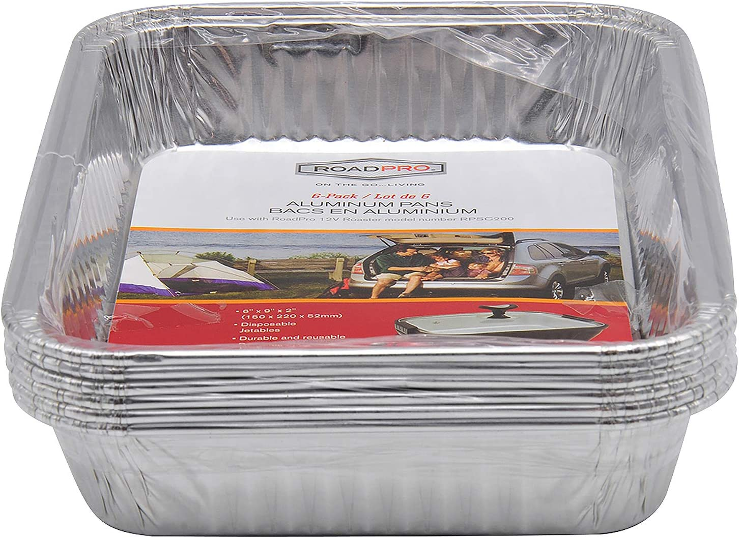 RoadPro Disposable Aluminum Foil Cooking Pans, 5