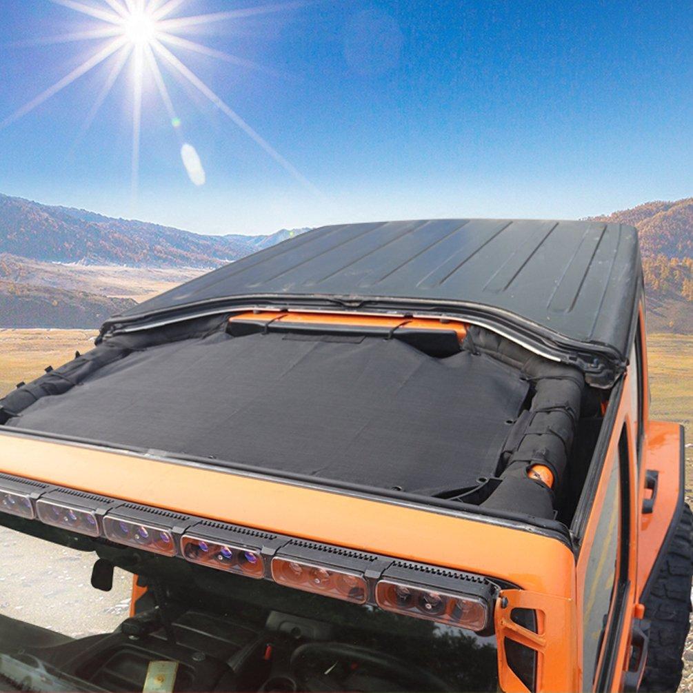 Sunshade Mesh Shade Bikini Top Cover Net for Jeep Wrangler JK JKU 2007~2017 2 Door 4-Door Provides UV Protection SUNPIE