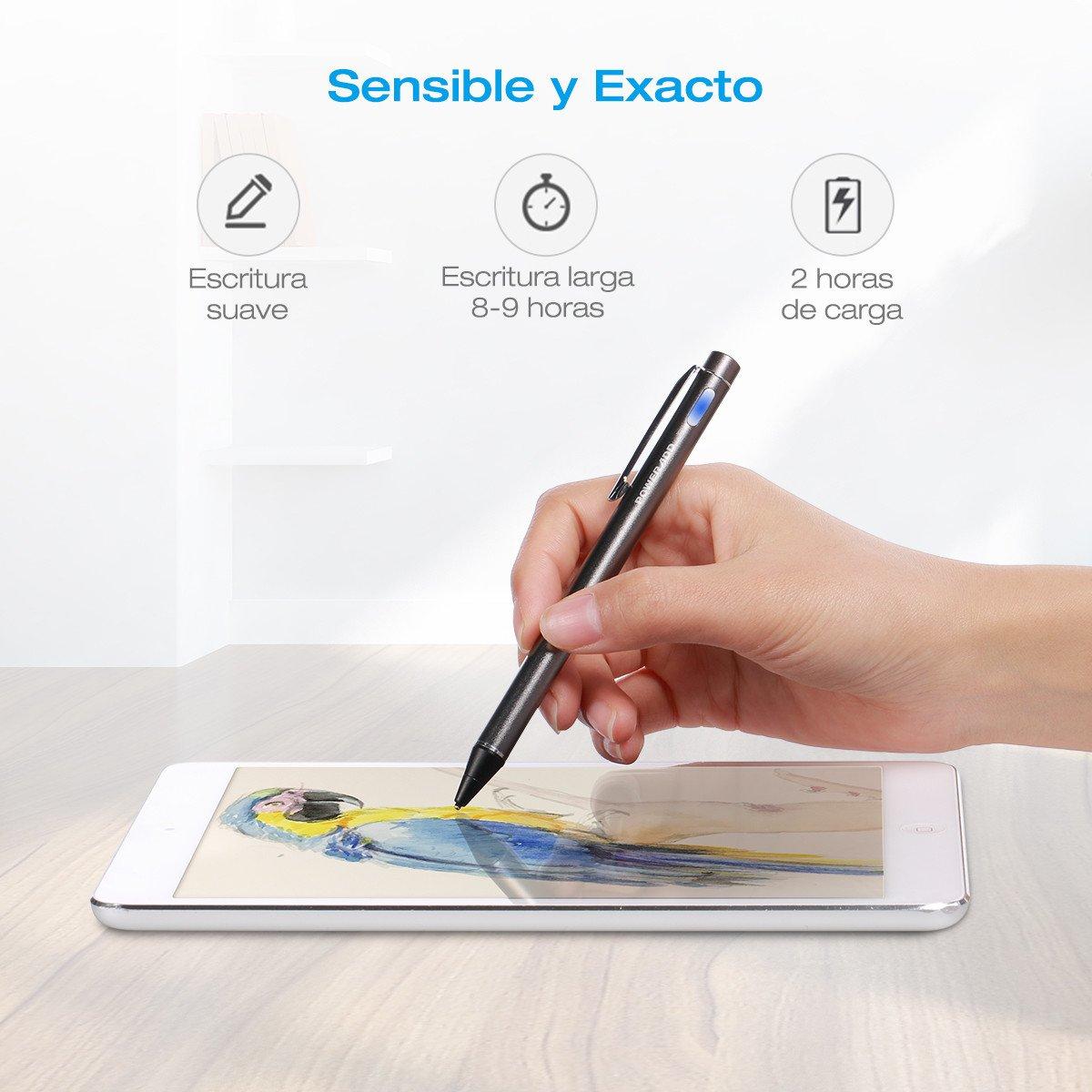 Poweradd Bolígrafo Digital para toda la Pantalla Táctil Teléfonos Inteligentes y Tabletas Color-Gris