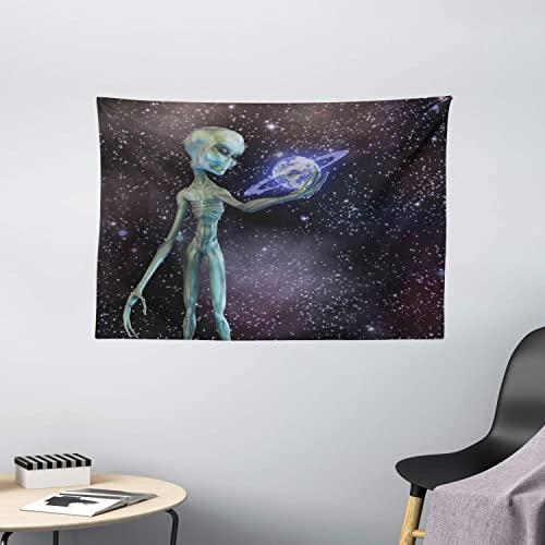 Ambesonne Outer Space Tapestry, Alien Body Planet in Milky Way Star Clusters Extraterrestrial Creature Image, Wide Wall Hanging for Bedroom Living Room Dorm, 60 X 40 , Dark Purple
