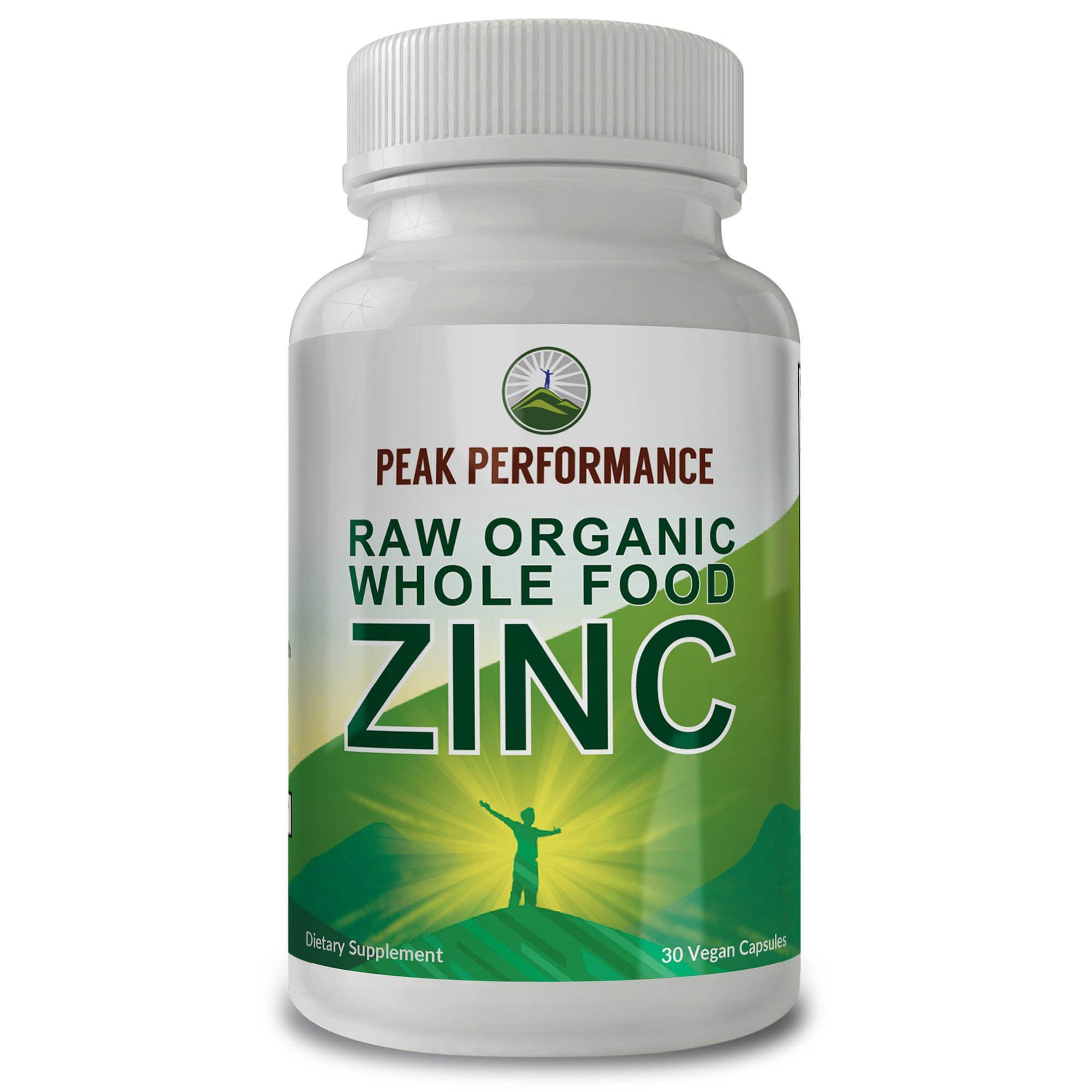 Raw Organic Whole Food Zinc by Peak Performance with Vitamin C & Over 25 Organic Fruit and Vegetable Ingredients. for Prostate Support, Immune and Cardiovascular Health. 30 Vegan Capsules