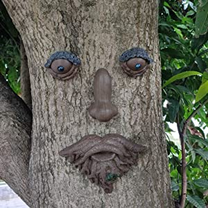 Roots with Leaf Tree Face Statue Tree Hugger Garden Peeker Figurine Yard Art Outdoor Decoration Sculpture