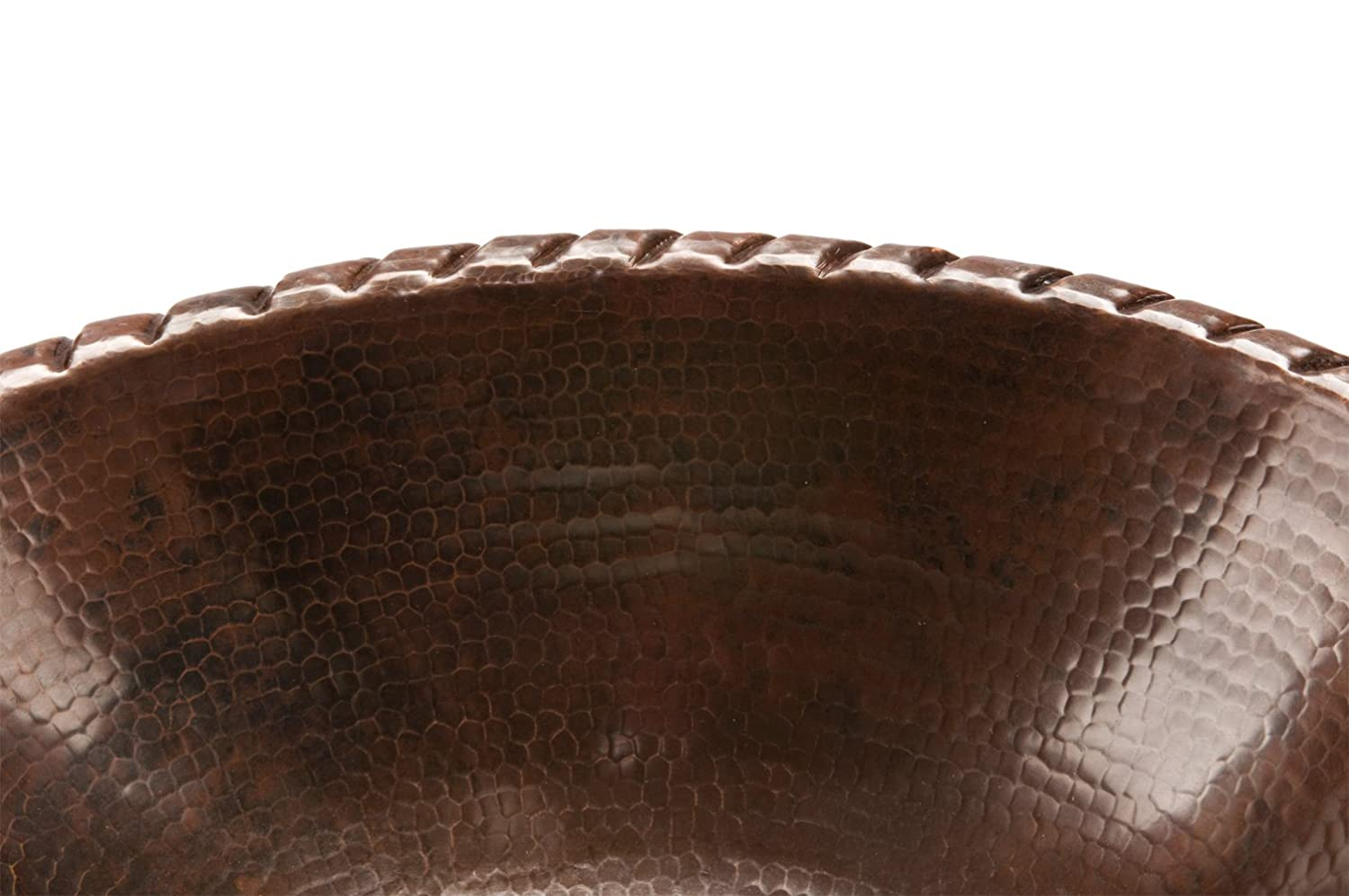 Premier Copper Products LO19RFLDB Oval Fleur De Lis Self Rimming Hammered Copper Sink Oil Rubbed Bronze