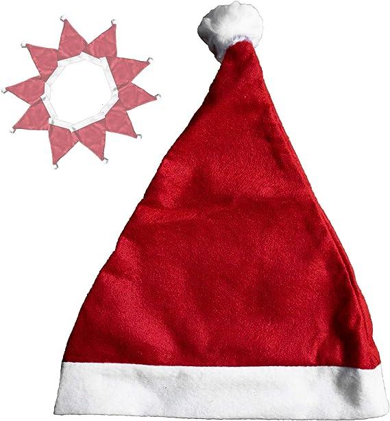 Lange Weihnachtsmann-Mütze mit Bommel Rot-Weiß Kopfbedeckung Nikolausmütze