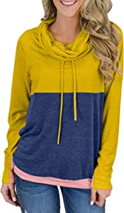 Win A Free Dearlove Womens Long Sleeve Cowl Neck Colorblock Pullover…