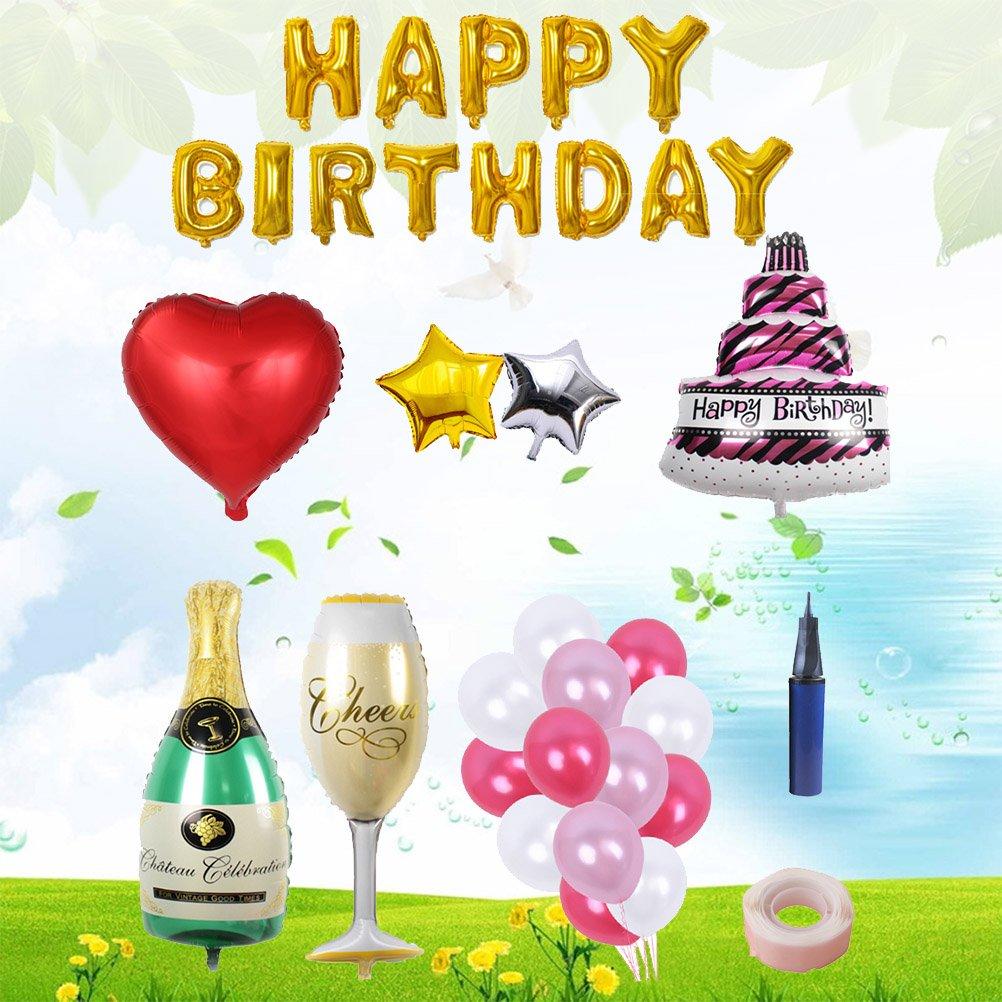 BESTOYARD Happy Birthday Cake Champagne Cup Bottle Foil Balloon Birthday Party Pack by BESTOYARD (Image #4)
