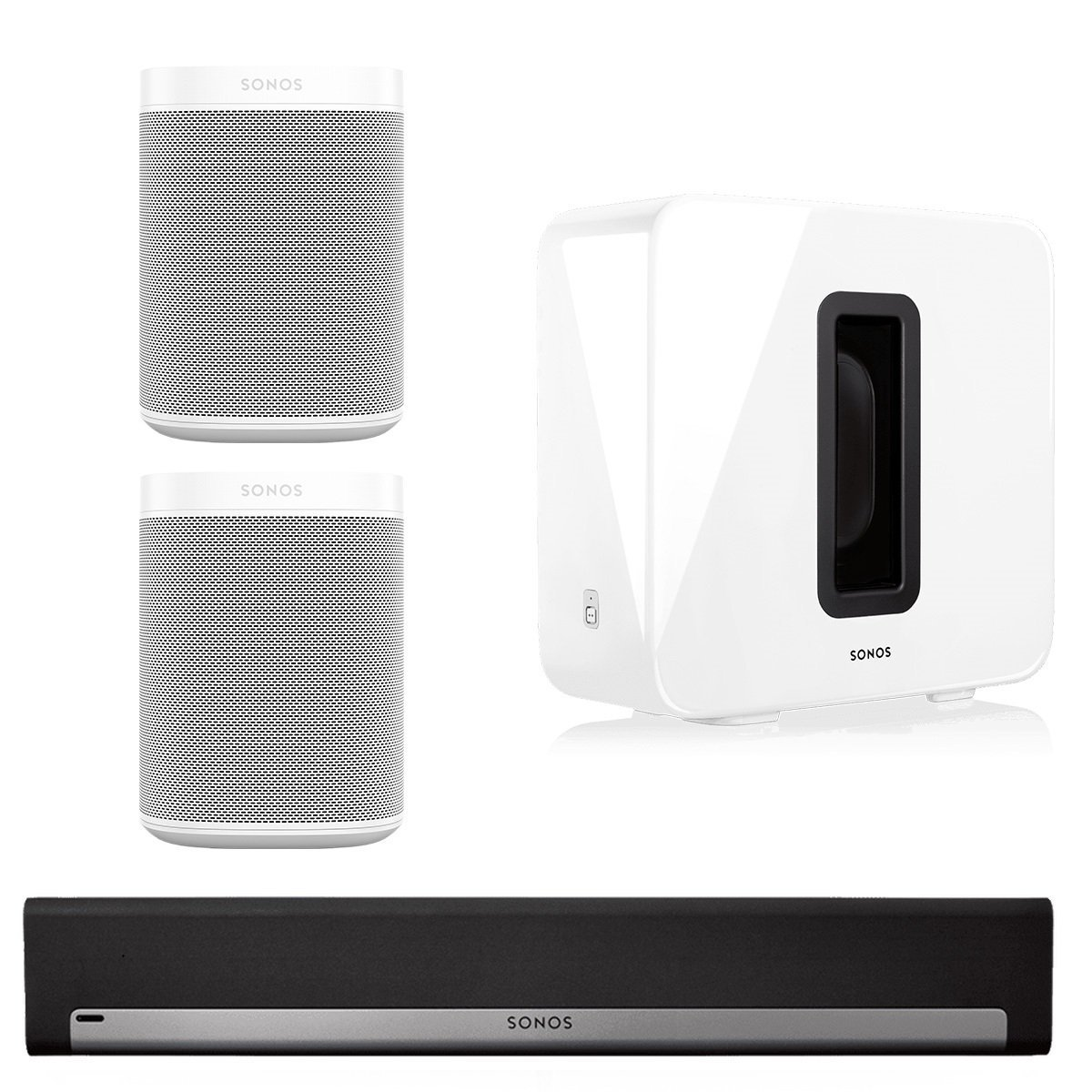 Sonos 5.1 Home Theater System with Sonos ONE (Pair), PLAYBAR, and SUB (White)