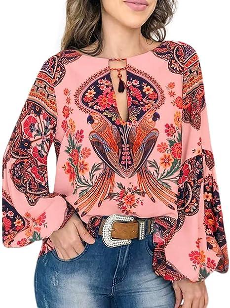 Geilisungren Mujeres V Cuello Caftan Boho Cubierta de la Playa más tamaño Damas Vintage Hippie Holgados Blusa Manga Larga Blusa de Camisa de para Formal Flare Blusa Suelto Delgado Color (Rojo,XXXL): Amazon.es: