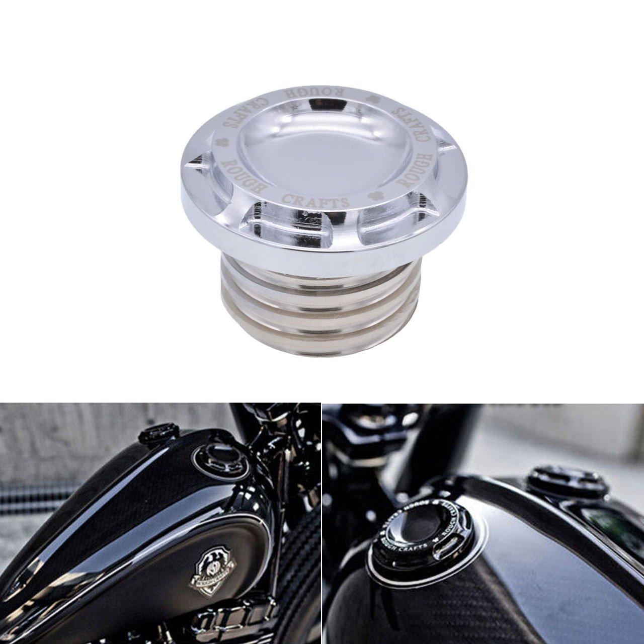 KaTur Motocicleta Negro CNC Rough Manualidades Aluminio Combustible Gas Aceite Cap para Harley Sportster XL 1200 883 1996 –  2014
