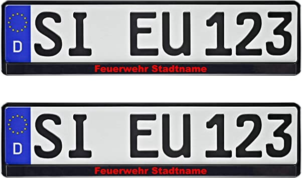 Nashville Print Factory 1 Paar Kennzeichenhalter Schwarz Mit Feuerwehr Und Stadt Nach Wunsch Bedruckt Auto