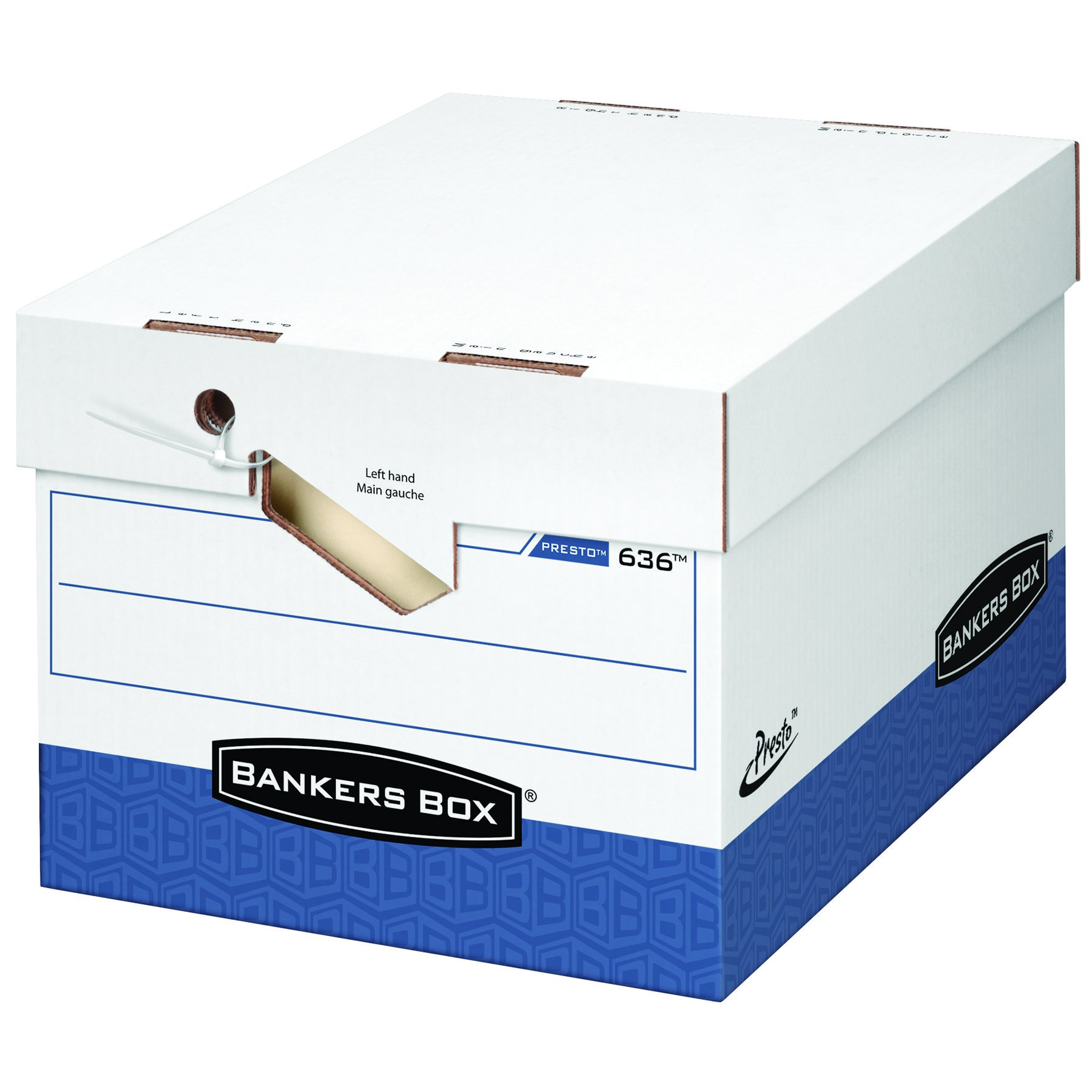 Bankers Box Presto Heavy-Duty Storage Boxes with Ergonomic Design, Letter/Legal, White/Blue, 12 Pack (0063601)