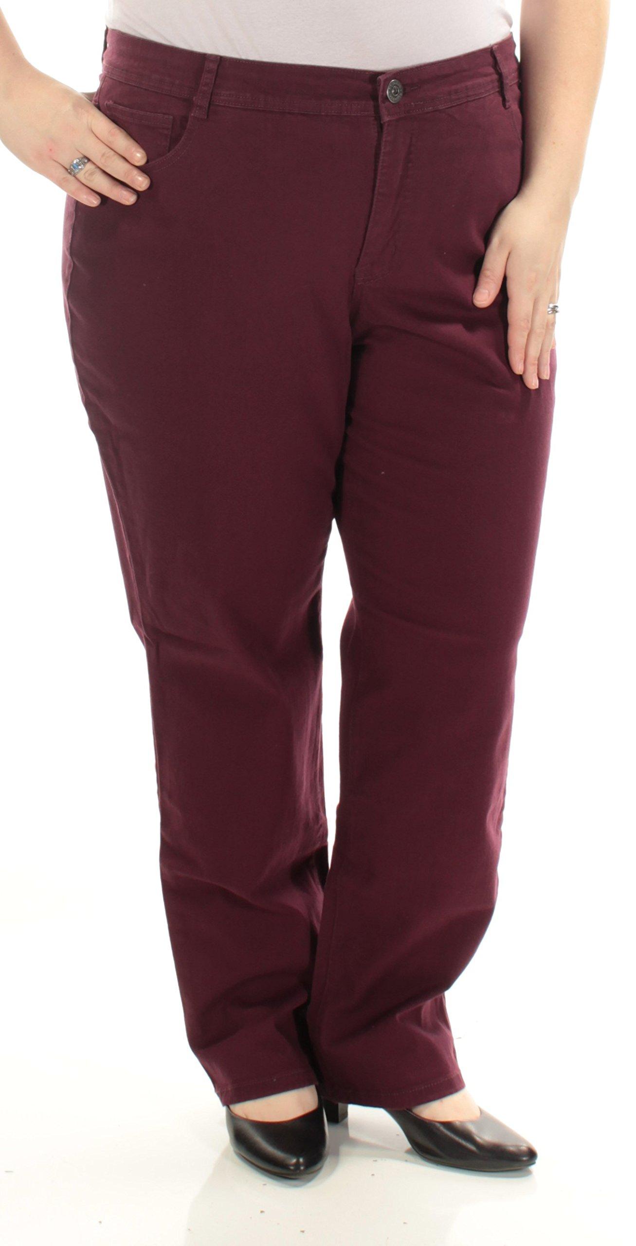 Style & Co. Womens Plus Tummy Control High Rise Slim Leg Jeans Purple 22W