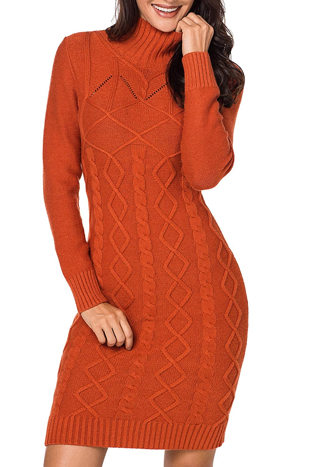 Meenew Women s High Neck Cable Knit Long Sleeve Bodycon Mini Sweater Dress  at Amazon Women s Clothing store  61e2a2fa0