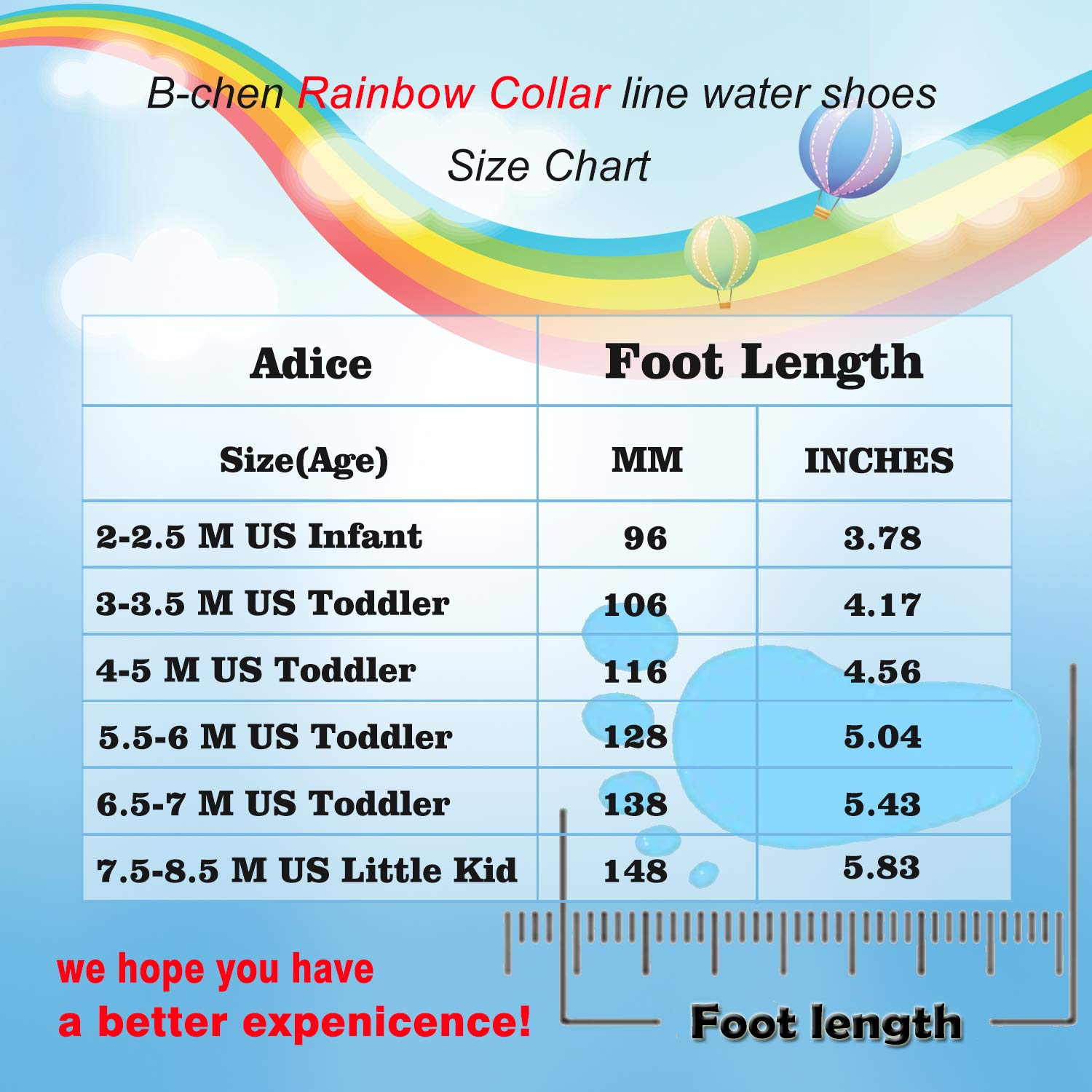 Toddler and Infant Kids Rainbow Collar Water Shoes Barefoot Quick-Dry Aqua Socks for Indoor Outdoor Beach Swim Surf