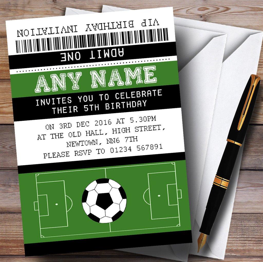 Football Soccer Match Ticket Childrens Birthday Party Invitations