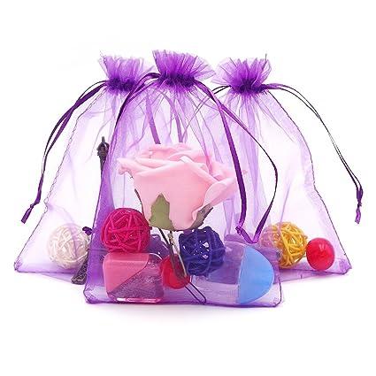 100 piezas, bolsas de organza extra grande 13 X 18 cm, bolsas de regalo de organza con cordón para joyas, bolsas de regalo, bolsas de dulces, morado