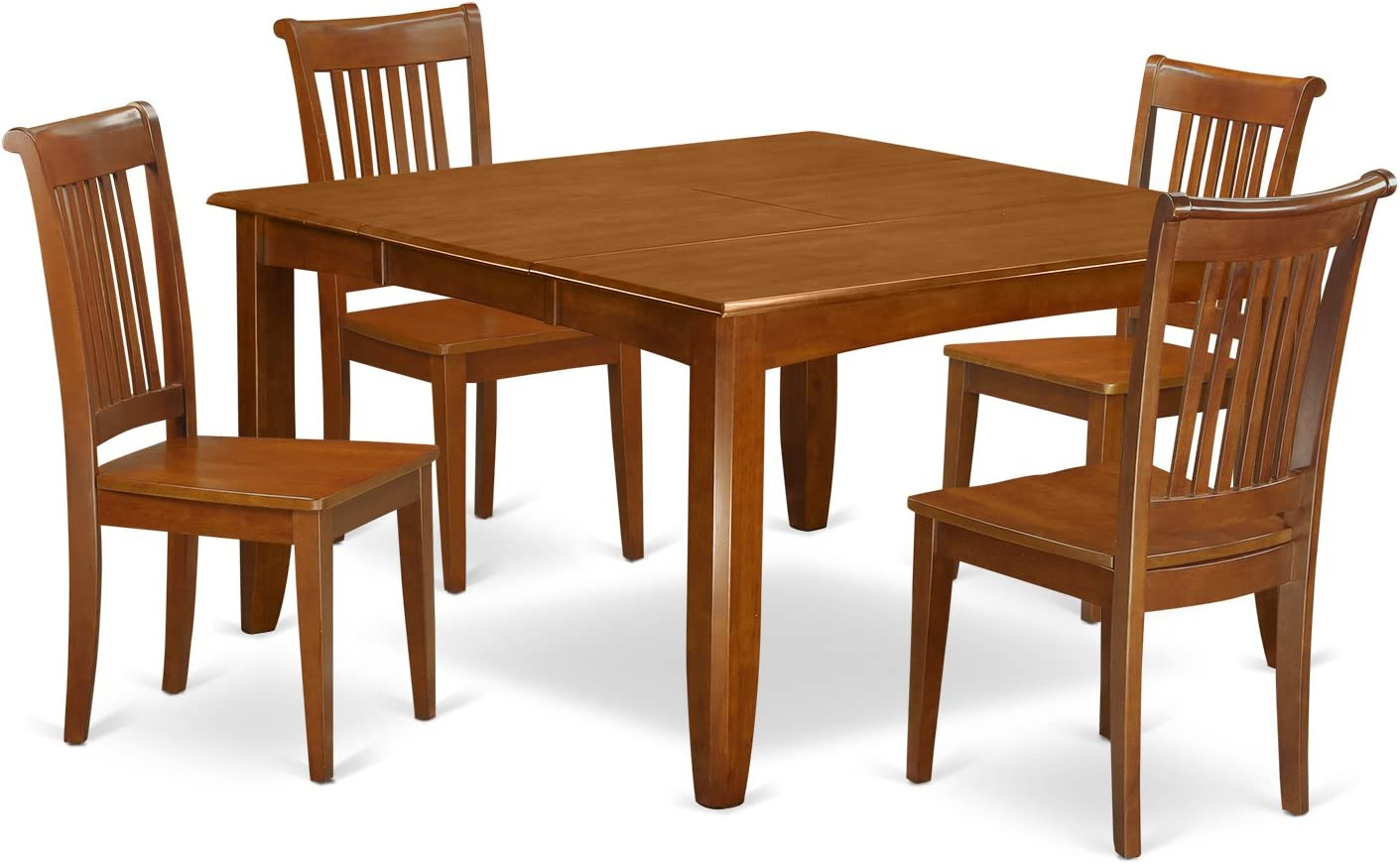 PFPO5-SBR-W 5 Pc Dining room set-Square gathering Table with Leaf and 4 Dining Chairs