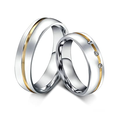 Amazon Com Aooaz Jewelry 2 X Women Men Band Rings Stainless Steel