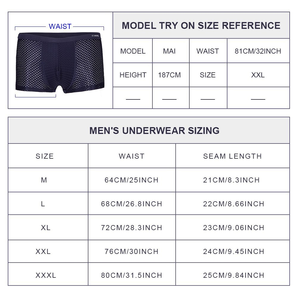 Camel Crown Mens Boxer Briefs Breathable Modal Performance Underwear Men 2 Pack (X-Large)