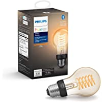 Philips Hue White Filament A19 Smart Vintage LED bulb, Bluetooth & Hub compatible (Hue Hub Optional), voice activated with Alexa