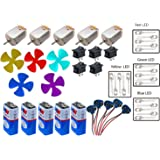 PROJECT HUB Supreme-Mart Toy Motor, 4 Colour LED, 9V Battery, Mini 4 Wing Fan, Battery Snap, Switches Science Projects Kit for DIY (Multicolour) - Pack of 5 Pieces Each