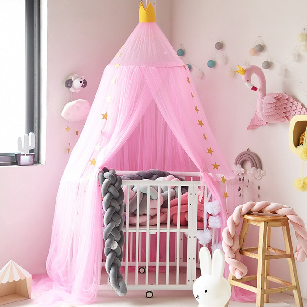 Hoomall Mosquito Net Bed Canopy Round Lace Dome Princess Play Tent Bedding for Baby Kids Children's Room 240cm (Beige) Ourstory