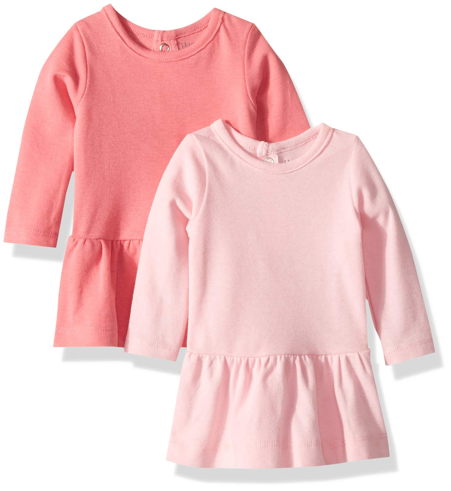Hanes Ultimate Baby Flexy 2 Pack Knit Long Sleeve Dresses, Pink, 18-24 Months by Hanes