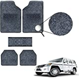 Vheelocityin Black Carpet Style Mahindra Bolero Car Foot mat / Black Car Floor Mat for Mahindra Bolero