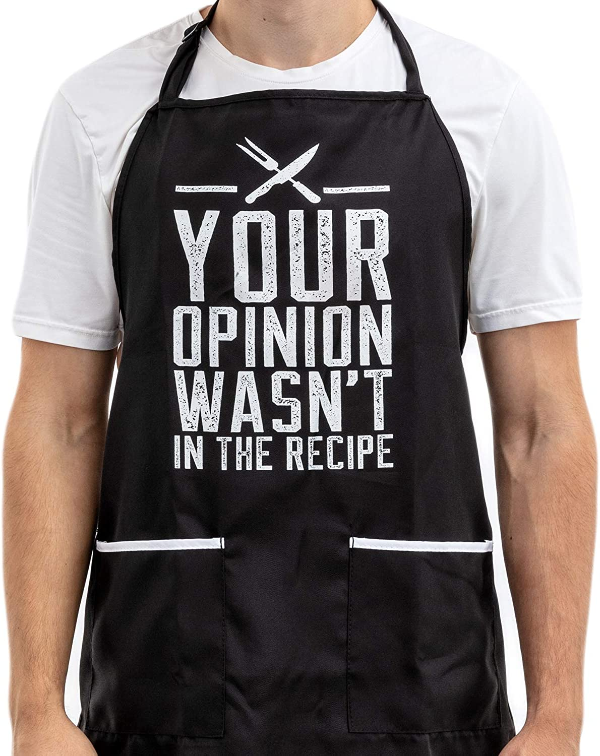 Funny Apron for Women and Men with 2 Large Pockets - Your Opinion Wasn't in the Recipe One-Size-Fits-All Adjustable Cotton/Poly Chef Apron for Grilling, Cooking, BBQ - Fits Grill Accessories, Phone
