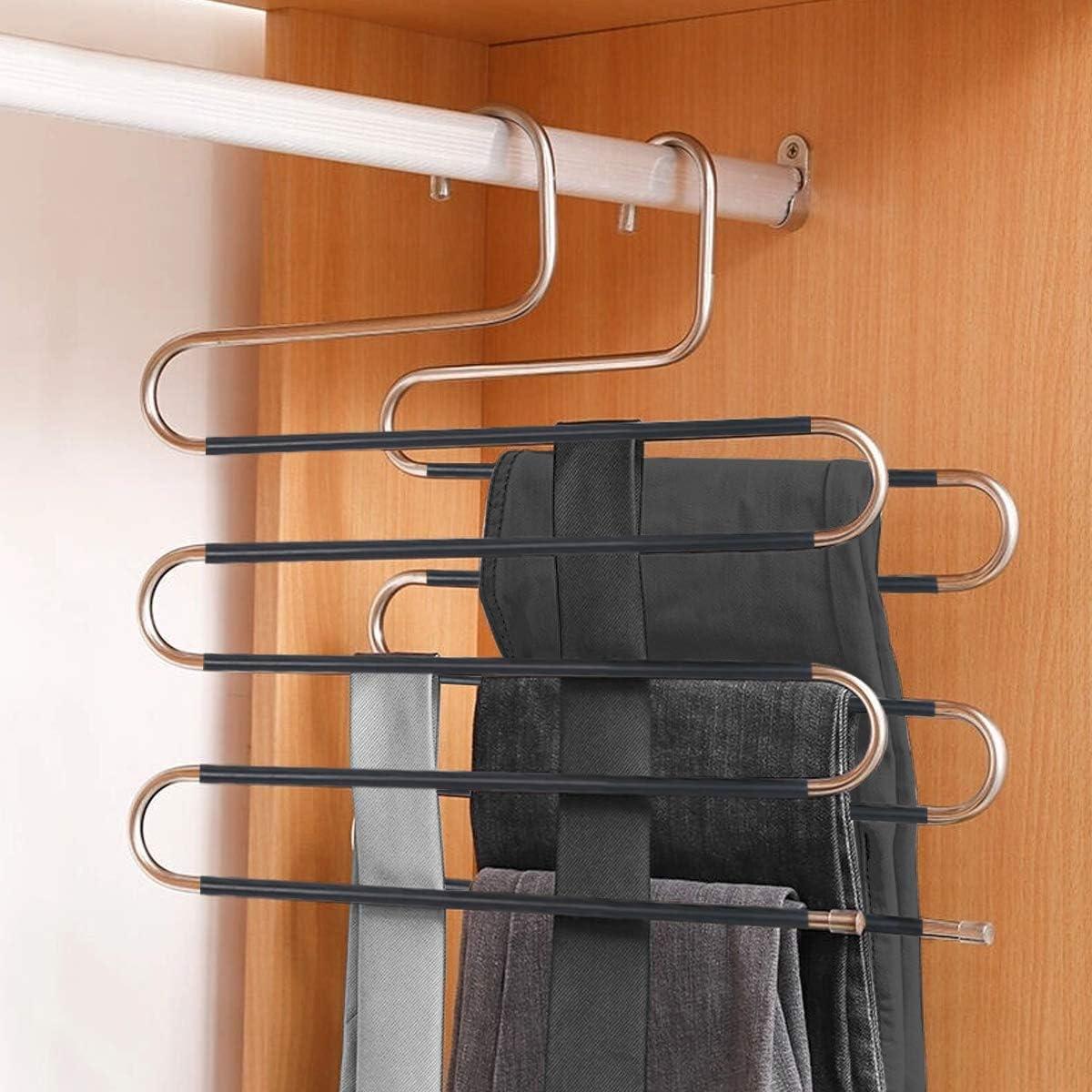 2packs S Tipo Pantalones de la suspensi/ón Estante Multi-Funcional Colgante Rack de la Ropa Almac/én de Varios Pisos Almacenaje Ideas de la Manera XIAO MO GU