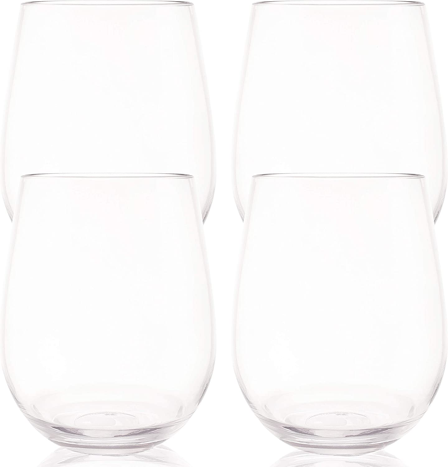 Unbreakable Stemless Wine Glasses, Dishwasher Safe Shatterproof Tritan Plastic Glassware, Perfect For Wine and Cocktails, Set of 4 16oz Cups