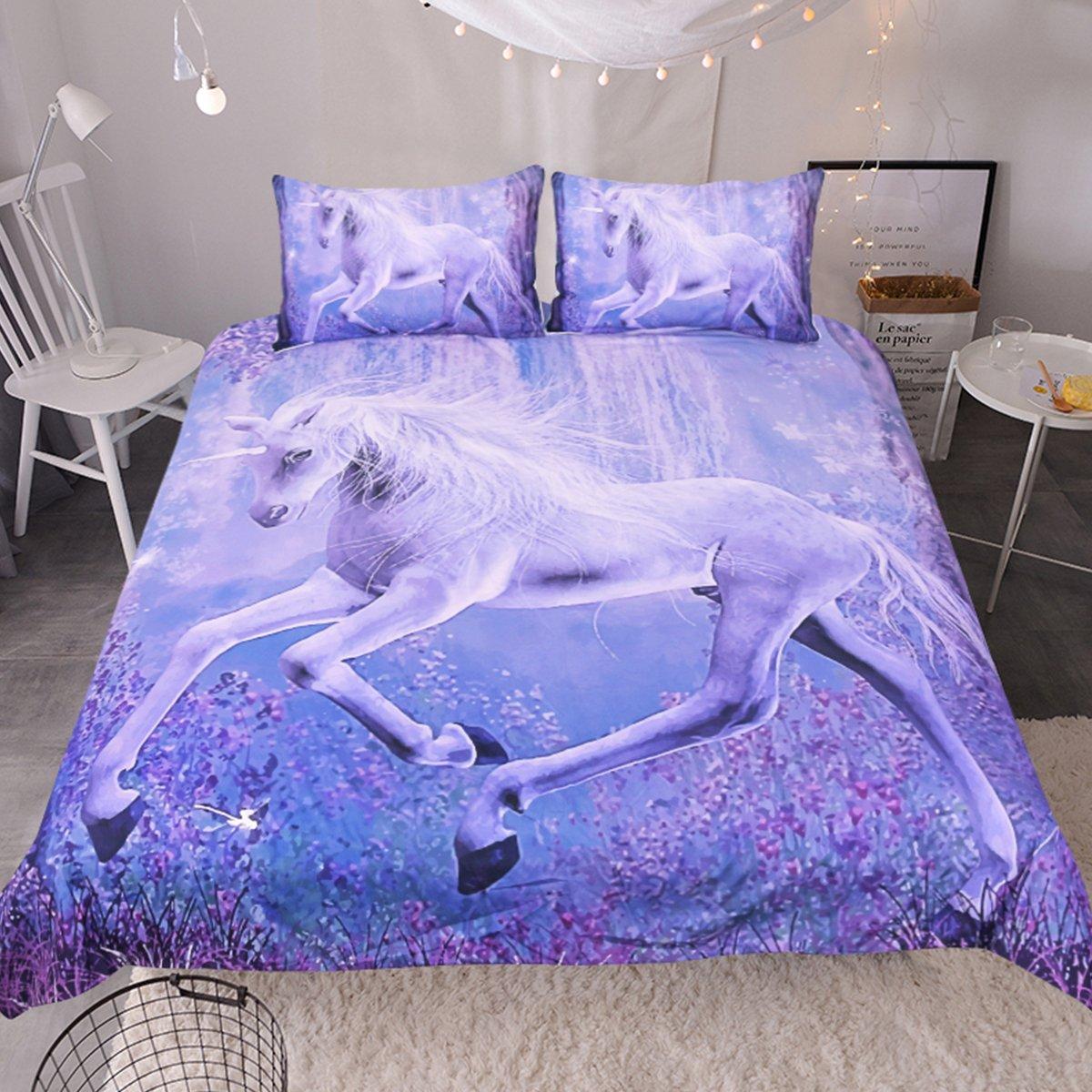 Sleepwish 3D Purple Unicorn Bedding Dreamy Lavender Unicorn Duvet Cover Teen Fantasy Animal Art Bed Comforter Cover Set (King)