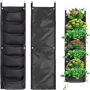 Pockets Vertical Wall Garden Planter Plant Grow Bag for Flower Vegetable for Indoor/Outdoor and Herbs Flowers Yard Decoration Planting Bag (7 Pocket, Black)