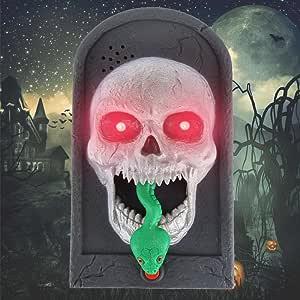 Esqueleto Enjoygoeu Decoracion de Halloween Timbre para Puerta Bruja Vampiro Esqueleto Prop con Luces Terror Aterrador Campanilla de Iluminaci/ón con Lengua Afueras