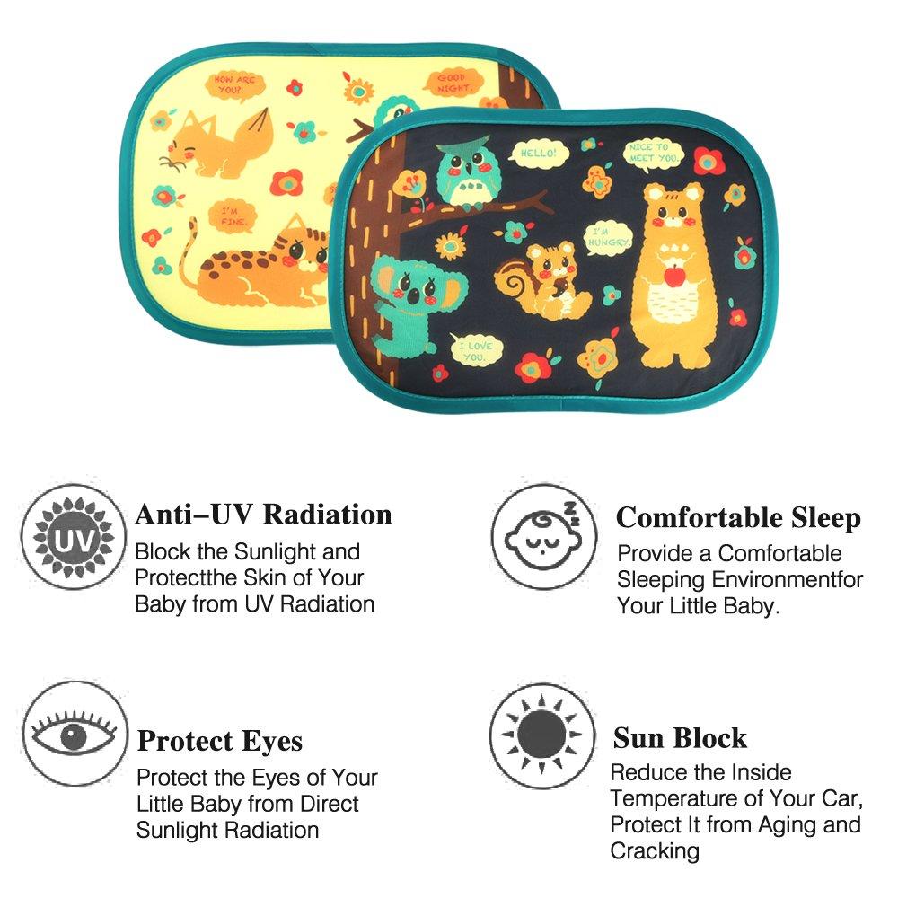 Auto Sonnenschutz Kinder,2 Stück Selbsthaftende Baby Sonnenblende Auto Waldparty Design Sonnenschutz mit uv Schutz vor Hitze & UV Strahlen für Auto Seitenscheiben