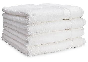 Toallas de baño de lujo de Cosy Homery - Juego de toallas 4 piezas blanco - 100% algodón egipcio natural orgánico 650 GSM: Amazon.es: Hogar