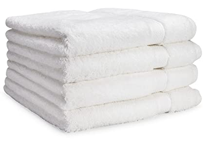 Luxury Bath Towel By Cozy Homery - 4 Piece Towel Set White - 100% Organic