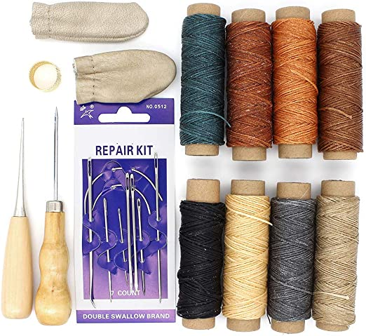 Yuhtech Hilo encerado de piel, 20 piezas de herramientas de mano de cuero para coser hilo encerado de 274,3 m con agujas de coser a mano para manualidades de cuero ...