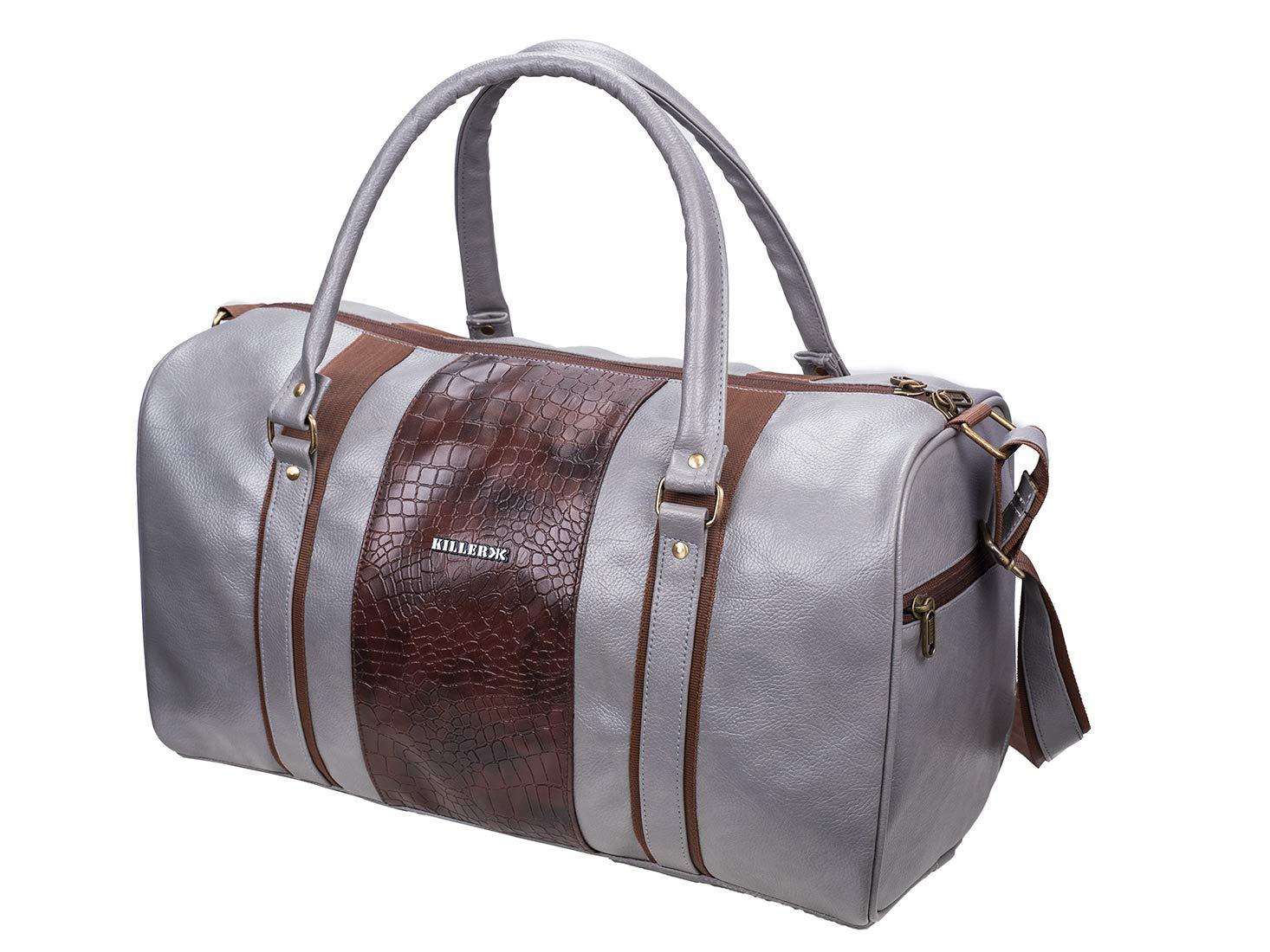 ca624d54a7 KILLER Jamaica PU Polyester 30 L Duffle Bag (Grey)  Amazon.in  Bags ...