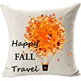 Season Blessing Maple Leaves Hot Air Balloon Happy Fall Travel Thanksgiving Halloween Gifts Cotton Linen Throw Pillow Case Cushion Cover Home Office Decorative Square 18 X 18 Inches