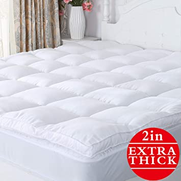 Mattress Pad Cover Queen Size Pillow Top Topper Thick Luxury Bed Bedding White