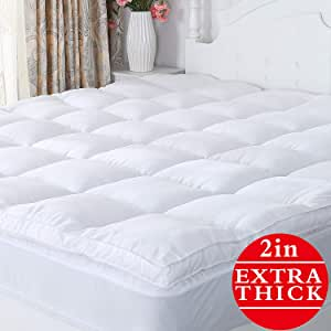 """Naluka Mattress Topper Premium Hotel Collection Down Alternative Quilted Featherbed Luxury Microfiber Mattress Pad 2 Inch Thick Mattress Cover Twin(39""""x75"""")"""