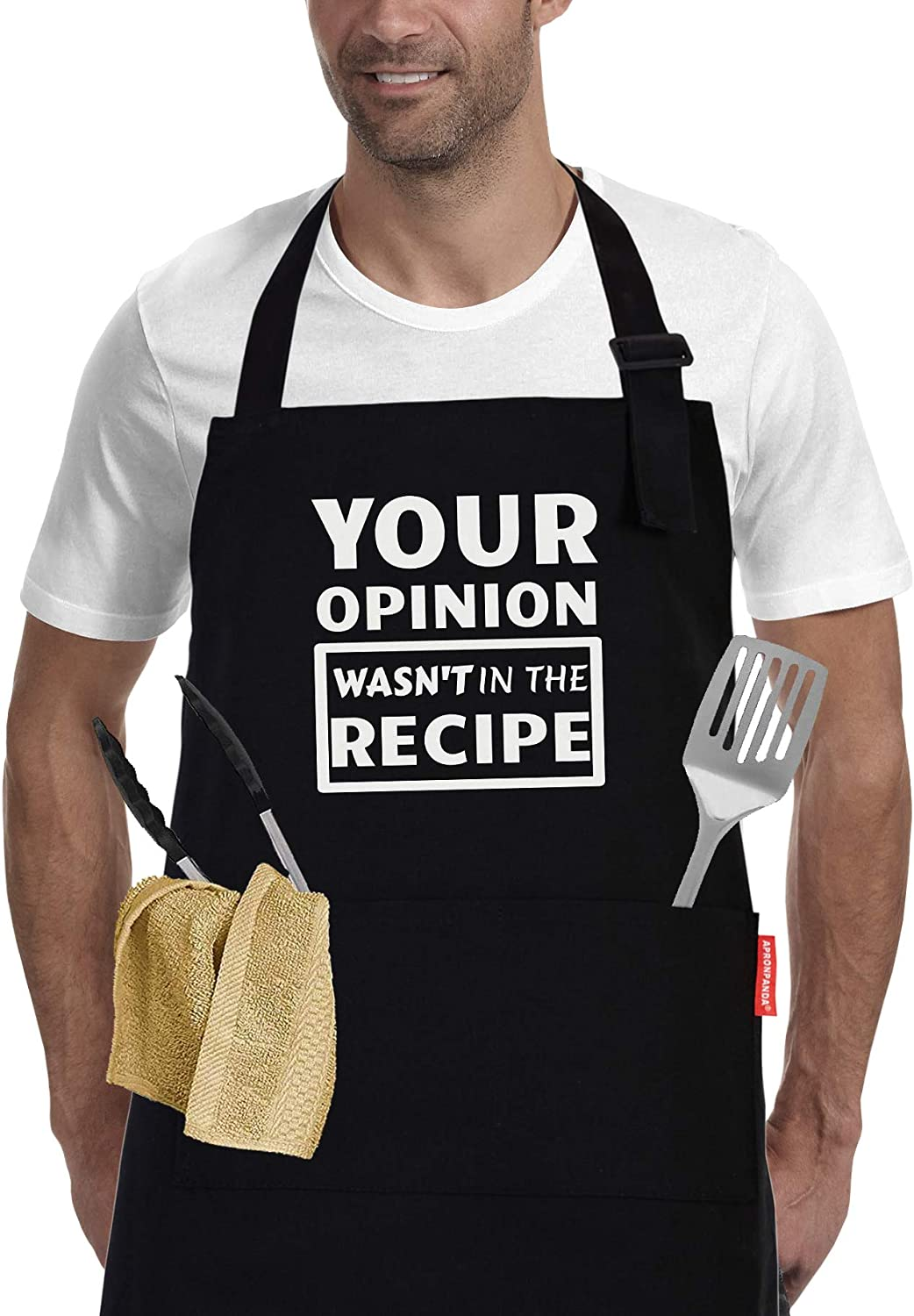 Funny Cooking Aprons for Men and Women Chef, Adjustable BBQ Grill Apron with Pockets - Birthday, Thanksgiving, Christmas Cooking Gifts for Wife, Husband, Mom, Dad