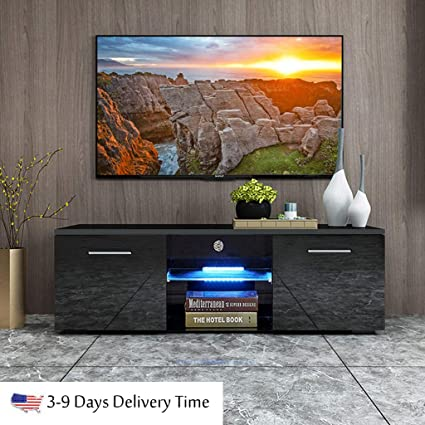 Amazon Com Ship From Usa 47 Modern Minimalist Led Tv Cabinet High Gloss Tv Stand Tv Living Room Entertainment Center Media Console Table With 2 Storage Cabinets Open Shelves Black Home Audio Theater