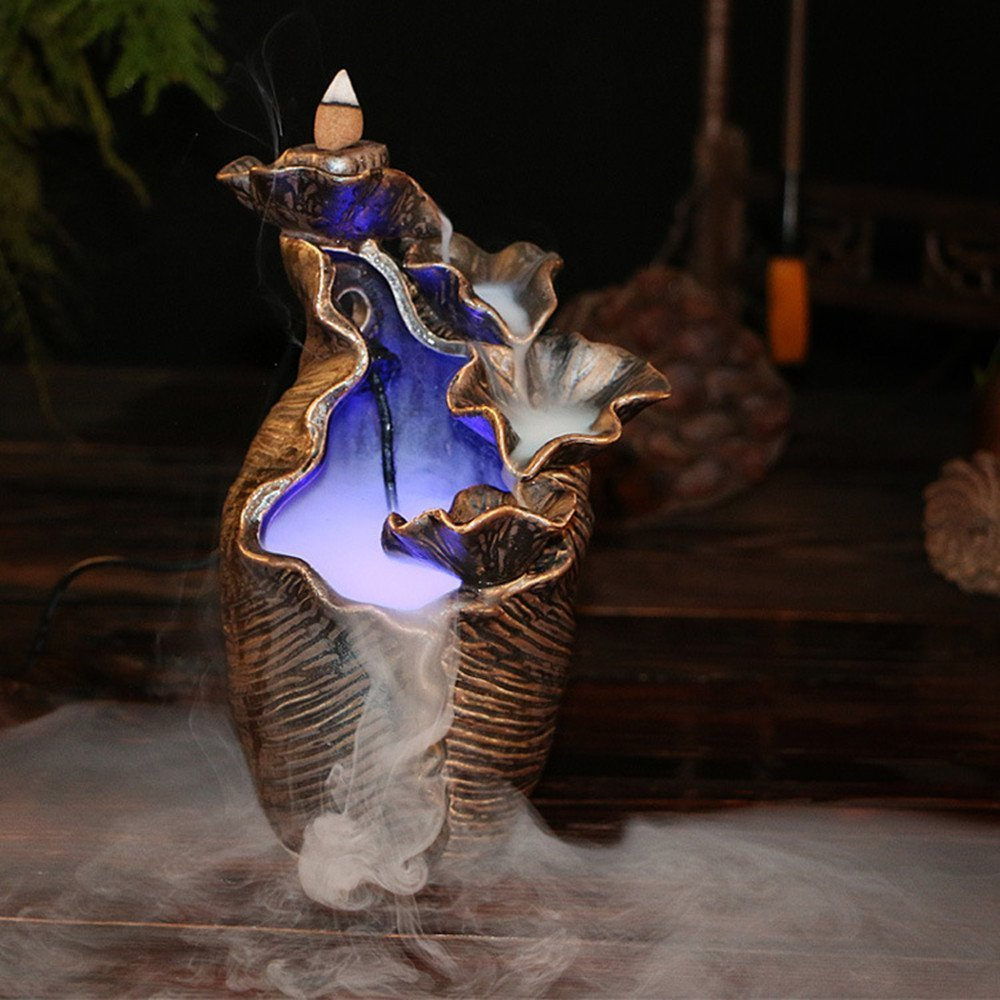 LED Backflow Incense Burner, Air Conditioner Humidifier Aromatherapy Atomizing Led Smog Home Decor Fashion Ornament Spie