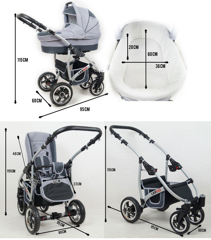 Kinderwagen Largo Grey Flex 3 in 1 Set Wanne Buggy Babyschale Autositz